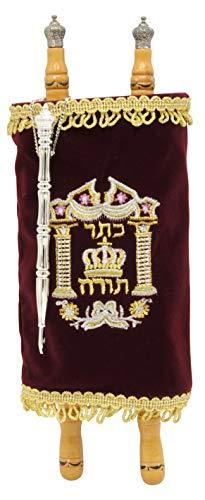 Torah Scroll Complete Sefer Torah Children s Torah, X-Large Maroon Velvet Torah – 22
