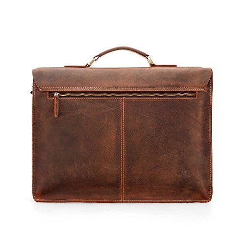 Kattee Full Grain Leather Vintage Briefcase Messenger Bag