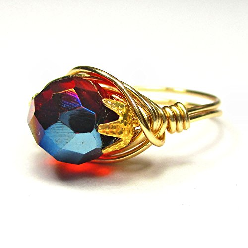 Ruby Sunset Czech Art Glass Gold Wire Wrap -
