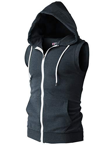 (H2H Mens Basic Zip Up Sleeveless Hoodie Vest HEATHERNAVY US XL/Asia 2XL (CMOHOSL08))