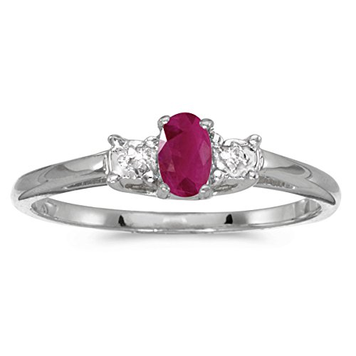 Jewels By Lux 10k White Gold Genuine Red Birthstone Solitaire Oval Ruby And Diamond Wedding Engagement Ring - Size 6.5 (0.18 Cttw.)
