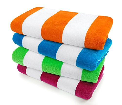 (KAUFMAN - Velour Cabana Towels 4-Pack - 30in x 60in)