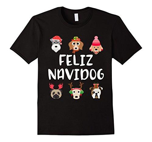 Mens Feliz Navidog Navidad Merry Christmas Dog Breed T Sh...