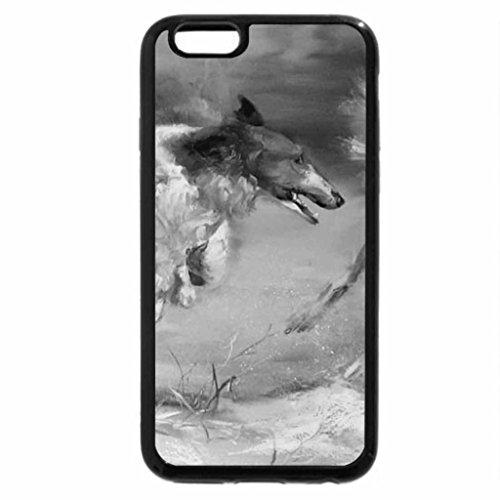 iPhone 6S Plus Case, iPhone 6 Plus Case (Black & White) - Barzoi dogs