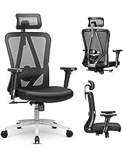 mfavour Ergonomiczne krzesło biurowe z siatką krzesło biurowe z wysokim oparciem z regulowanym podparciem lędźwiowym, podłokietnikiem 3D i regulowanym zagłówkiem, ergonomiczne krzesło biurowe do domu