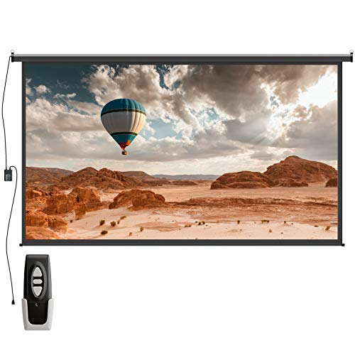 Electric Motorized Auto Projector Screen - FEZIBO 100 inch Diagonal Auto with Remote Control 16:9 HD Electric Motorized Drop Down Projection Screen