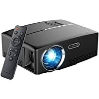 Video Projector, OLEY GP80 1800 Lumens LCD Mini Projector, Multimedia Home Theater Video Projector Support 1080P HDMI USB SD Card VGA AV for Home Cinema Theater Video Games Movie Night(Black)