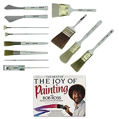 Bob Ross Landscape Brush Set Oil Based Paint Tools and The Best of Joy of Painting Book, 13 Pieces