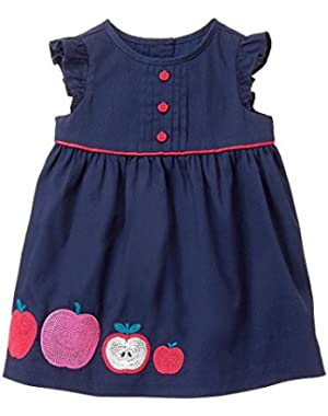 Newborn Girls Gym Navy Apple Dress by Gymboree (Variety of sizes)