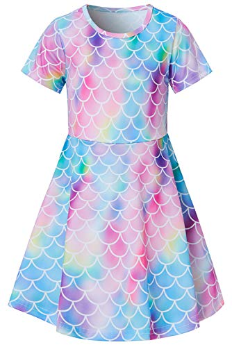 Girls Short Sleeve Dress 3D Print Cute Rainbow Mermaid Fish Scale Pattern Summer Dress Casual Swing Theme Birthday Party Sundress Toddler Kids Twirly Skirt