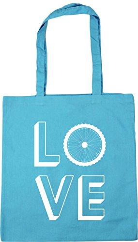 HippoWarehouse Love Cycling Tote Shopping Gym Beach Bag 42cm x38cm, 10 litres Surf Blue