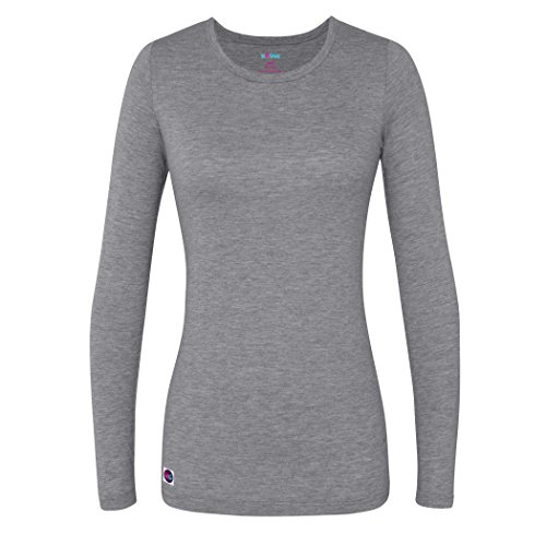 Sivvan Women's Comfort Long Sleeve T-Shirt/Underscrub Tee - S8500 - Dark Marl Gray - - Fitted Jersey Tee Crew
