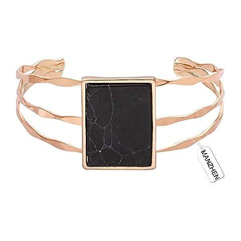 MANZHEN 3 Colors Geometric Retangle Black Onyx Marbled Wide Bangle Open Cuff Natural Stone Bangle Bracelets (rose - Onyx Stone Bangles