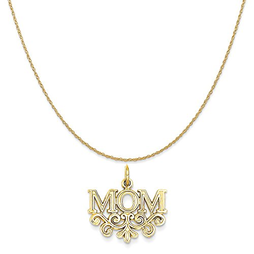 Charm Mom Gold 14k Yellow (14k Yellow Gold Mom Charm on a 14K Yellow Gold Rope Chain Necklace, 18