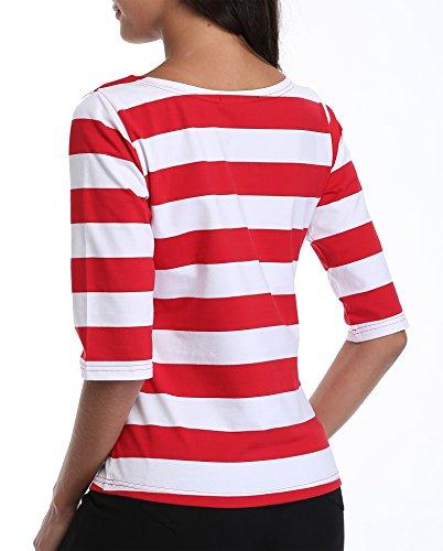 Colore Contrasto Classico E Corte Casual A Camicette Barca Donna Di Ladies Collo Maniche Righe Da Tops Magliette Tunica Camicie Base Rosso fPa11B