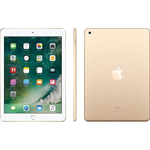 Apple iPad with WiFi, 128GB, Gold (2017 Model) (Renewed)