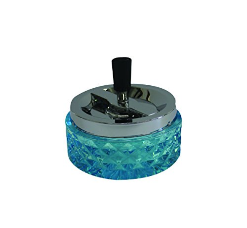 """4.75"""" Round Push Down Glass Ashtray with Spinning Tray ~ Choose Your Own Color (Aqua Blue)"""