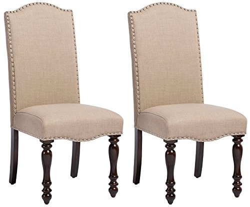 Baxton Studio Set of 2 Zachary Chic French Vintage Oak Brown Beige Linen Fabric Upholstered Dining Chairs