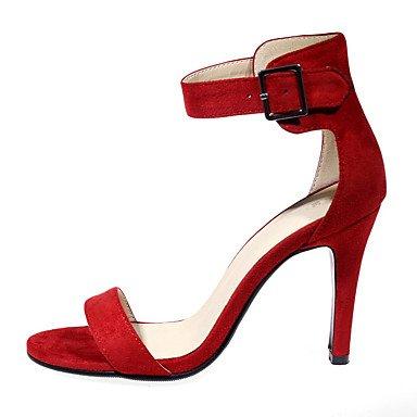 LvYuan Mujer Sandalias Semicuero Primavera Verano Otoño Hebilla Tacón Stiletto Negro Rojo Almendra 7'5 - 9'5 cms ruby