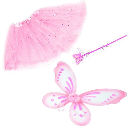 Pink Glitter Fairy Princess Dress up set - matching set for Girls and Dolls - Fairy Princess Glitter
