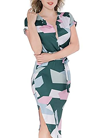 Faleela Womens V-Neck Short Sleeve Floral Printed Casual Geometric Pattern Dress with Belt (Dresses With Geometric Pattern)
