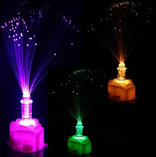 UChic 5PCS Colorful LED Optical Fiber Lamp Flower Rose Shaped Night Light Valentine's Day New Year Home Decoration Party Decor Color ()