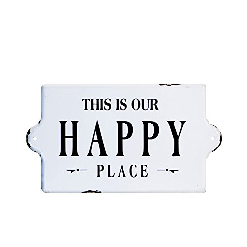 Enamel Sign Metal (VIPSSCI 'This Is Our Happy Place' Metal Enamel Decorative Wall Sign)