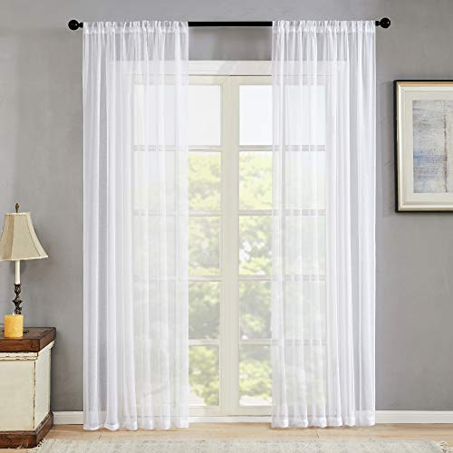 MRTREES Sheer Curtains White 84 inch Length Living Room Curtain Sheers Window Curtain Bedroom Light Filtering Voile Panels Sliding Glass Door Drapes 2 Panels Rod Pocket