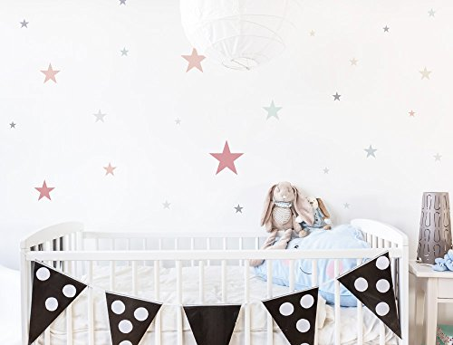 I-love-Wandtattoo WAS-10446 Wall stickers Kids Pastel stars in delicate shades 25 pieces, starry sky for gluing, wall tattoo, wall stickers, stickers, wall decoration