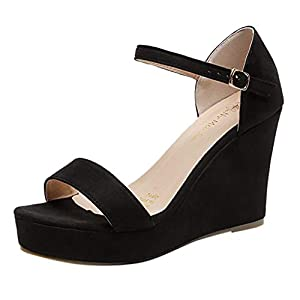 MTENG Women's Open-Toe Solid Color Suede High Heel Sandals Buckle Strap Wedge Shoes (35-42)