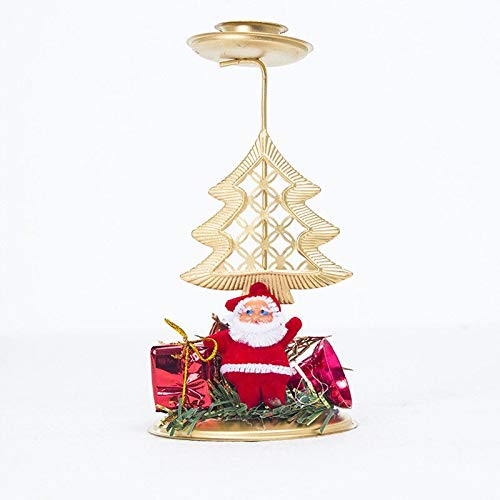 Santa Candle Xmas Creative Hollow Stand Santa Tree Star Candle Holder Christmas Candlestick Accessories