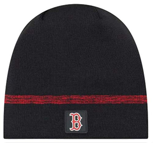 New Era Authentic Boston Red Sox Club House No-Cuff Sport Knit MLB Onfield Sideline Beanie Unisex Hat Navy, - Blue Knit Beanie Sideline