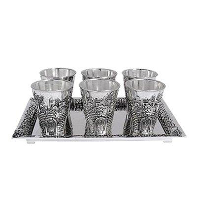 Jerusalem Shot Glass Kiddush Cup Set with Tray - Silverplated