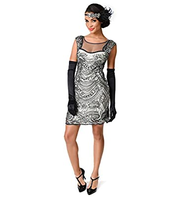 1920s Style Grey Beaded Deco Illusion Short Flapper Dress For Homecoming 2017