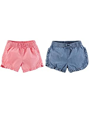 Baby Girls' Woven Twill Shorts Pack of 2