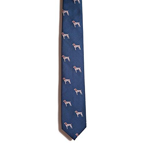 Chipp 2 German Shorthaired Pointer Silk Necktie with Deep Blue Background ()