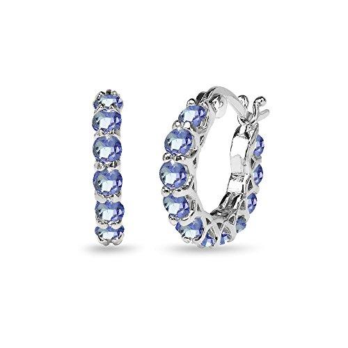 Sterling Silver Tanzanite Small Round Huggie 18mm Hoop Earrings