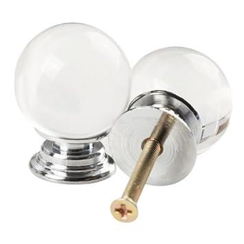 Revesun 10PCS/LOT Diameter 30mm Clear Crystal Glass Ball Shaped Door Knobs Cabinet  Pulls Cupboard