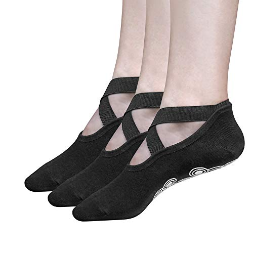 Tomight Yoga Socks for Women, 3 Pairs Non Slip Socks with Grips, Perfect for Pilates Barre Ballet Dance Workout