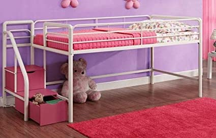 Amazoncom Loft Bed With Stairs Toddler Loft Bed White Metal Twin