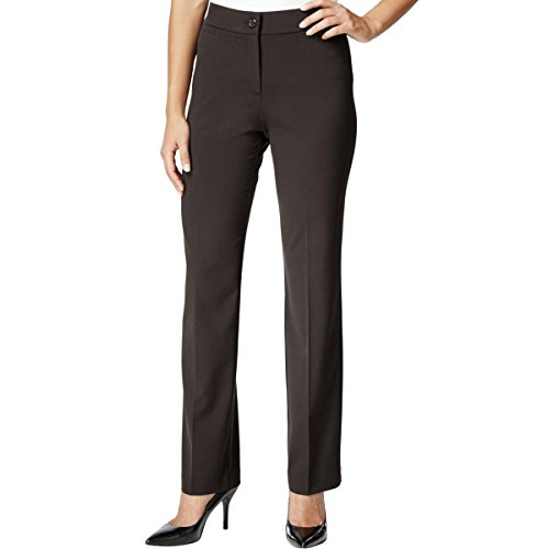JM Collection Womens Petites Comfort Waistband Straight Leg Pants Brown 16P