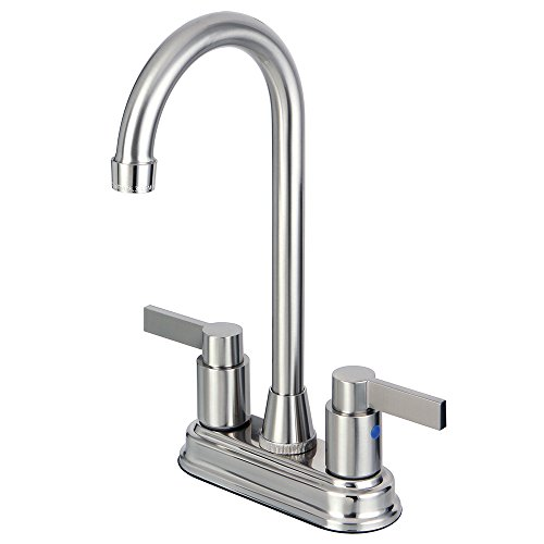Kingston Brass KB8498NDL 4-3/4-Inch in Spout Reach NuvoFusion Two Handle 4-Inch Centerset Bar Faucet, Satin - 4 Faucet Bar