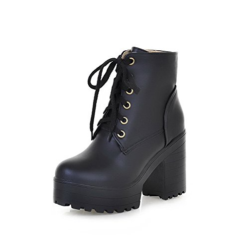 AllhqFashion Womens High-Heels Round Closed Toe Pu Low-Top Solid Lace-Up Boots, Black-Chunky Heels, 39