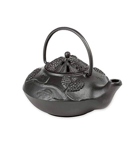 Plow & Hearth 12130BK 12130-BK Cast Iron Wood Stove Kettle Steamer with Pine Cone Design, In Black, 2.5Qt, (Renewed) (Wood Stove Cast Iron Humidifier Kettle)