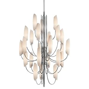 42214CH Stella 24LT Chandelier, Chrome Finish with Satin Etched Cased Opal Glass