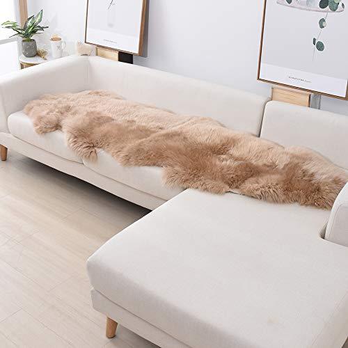 OGLAND Natural Fur Fluffy Long Wool Genuine Sheepskin Rug 2x3 2x6, Luxury Authentic Fur Rug (2x6, Camel)