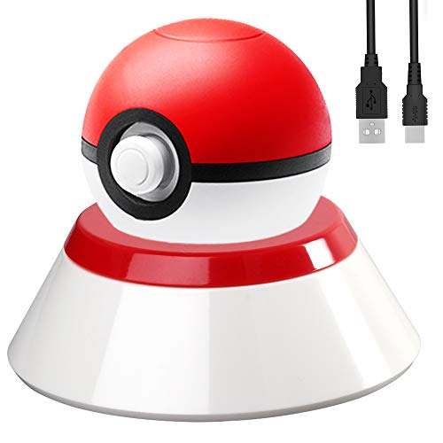 2-in-1 Charger Cable Set with Stand for Nintendo Switch Poke Ball Plus Controller, Flash Fast Charging Dock Stand Station Holder Kit for Nintendo Pokémon Lets Go Pikachu Eevee Game Controller - 2.8FT