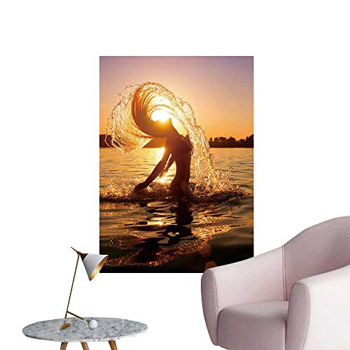 SeptSonne Wall Decoration Wall Stickers Beauty Model Girl splaash Water her Hair Teen Girl Print Artwork,16