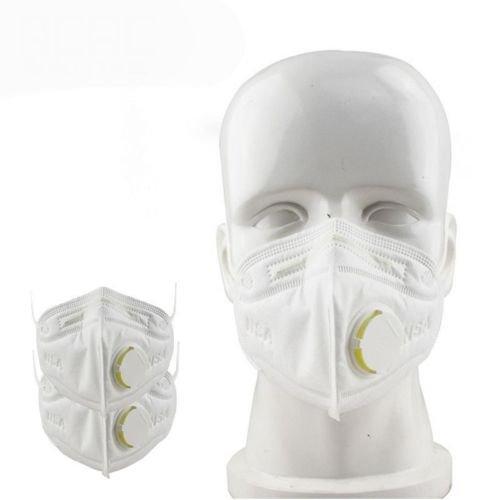 MACRHEE--10Pcs Disposable Work Dust Masks Valved FFP3 Respirator Face Breathing Face (white)