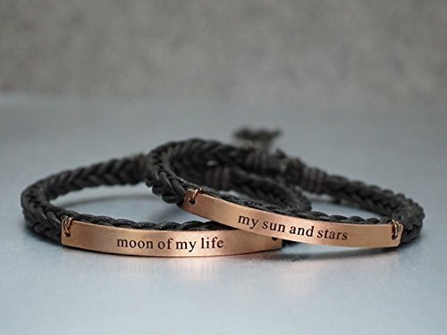 75e1326d4 Amazon.com: Game of Thrones Matching Couple Bracelets Moon of my life my sun  and stars Thin Brown Cord Braided Cuffs, Anniversary Gift: Handmade